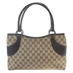 Gucci 113015 GG Canvas & Brown Leather Tote 181919